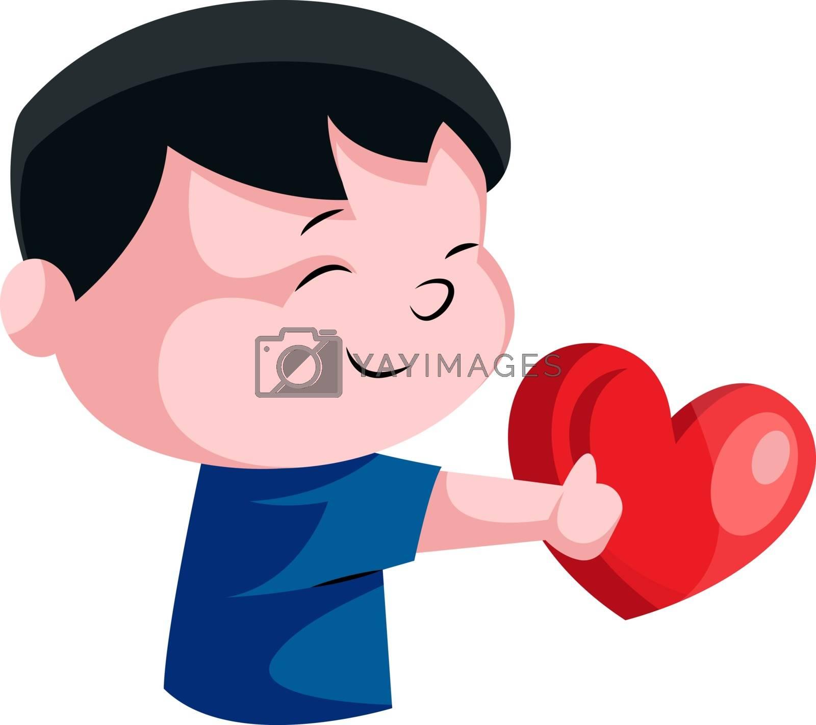 Royalty free image of Little boy holding red heart illustration vector on white backgr by Morphart