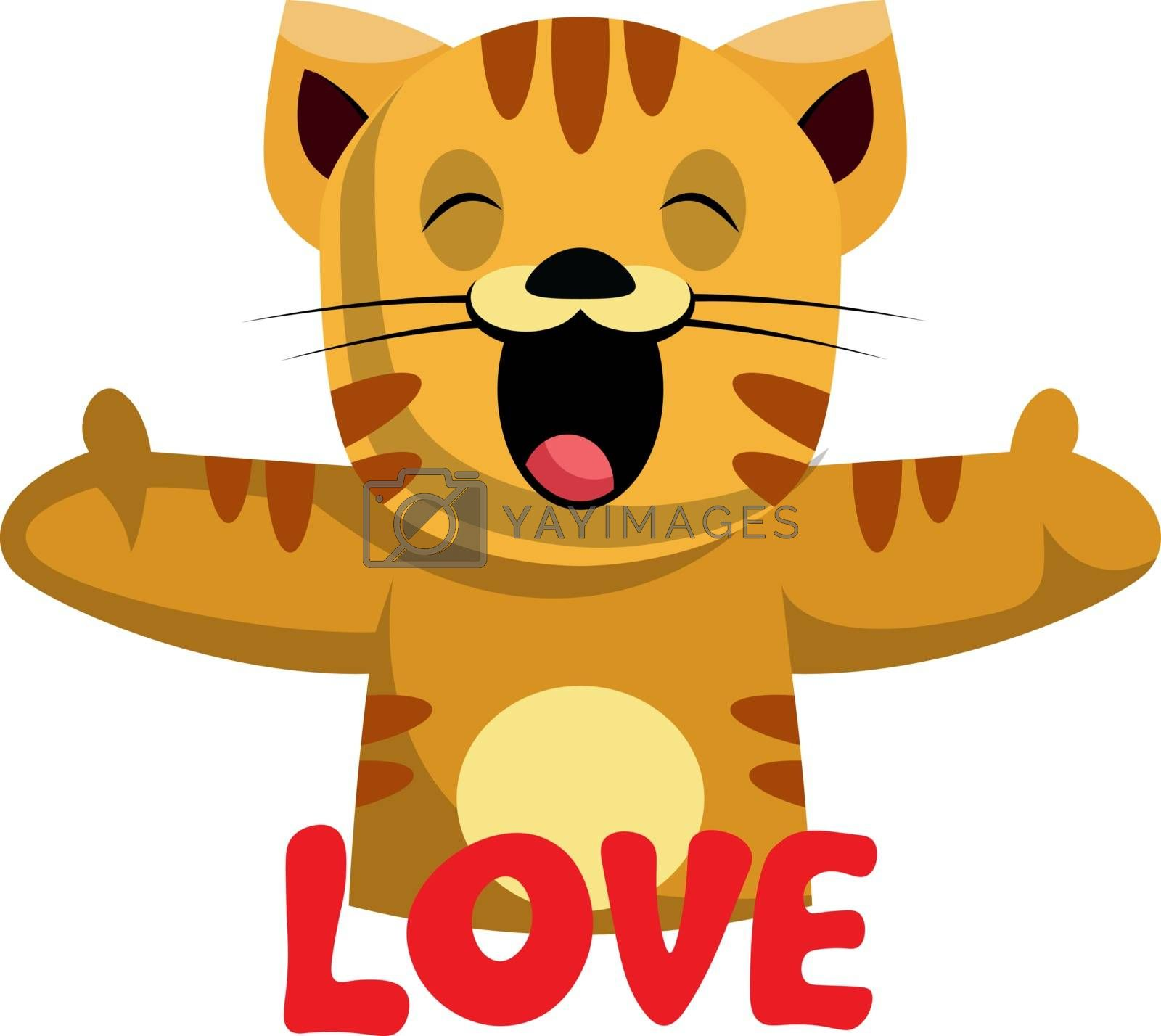 Royalty free image of Ginger cat says that she loves you illustration vector on white  by Morphart