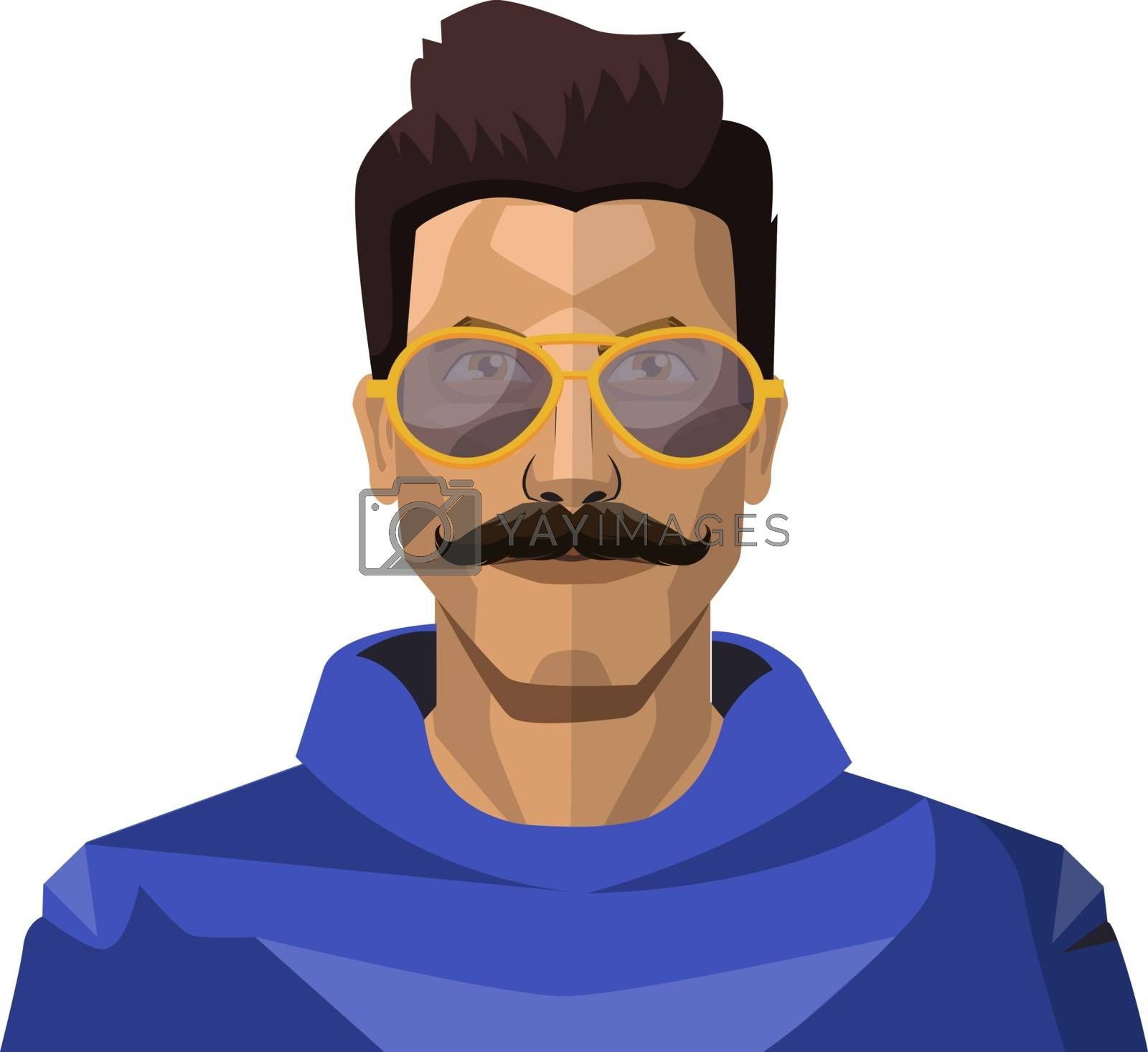 Royalty free image of Handsome guy with moustaches and sunglasses illustration vector  by Morphart