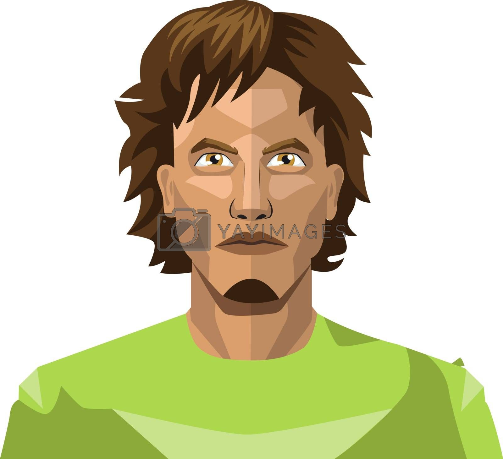 Royalty free image of Young man with a long hair and chin beard illustration vector on by Morphart