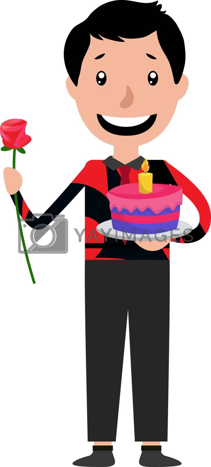 Royalty free image of Cartoon man holding a cake and giving the rose illustration vect by Morphart