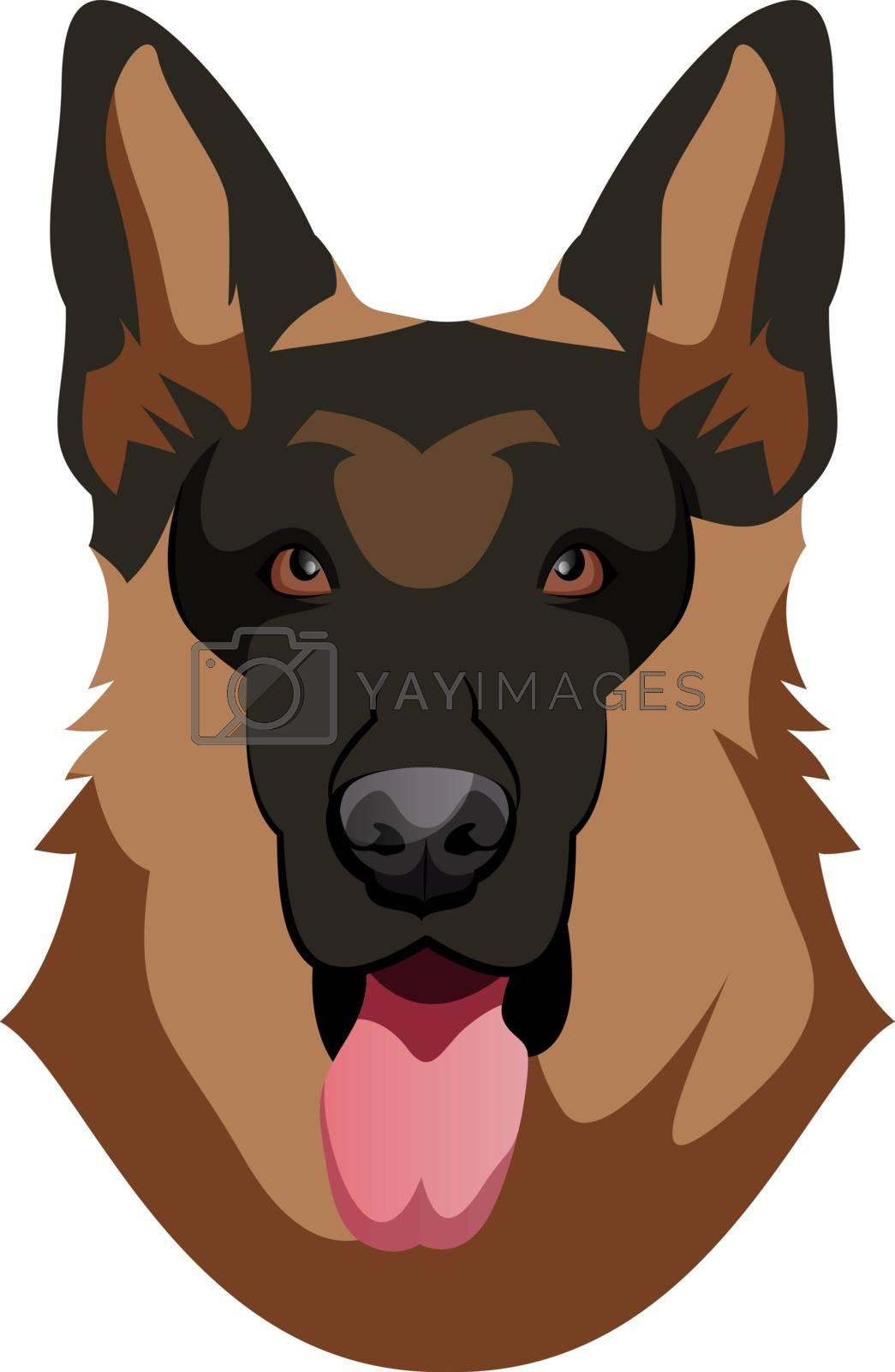 Royalty free image of German Shepherd illustration vector on white background by Morphart