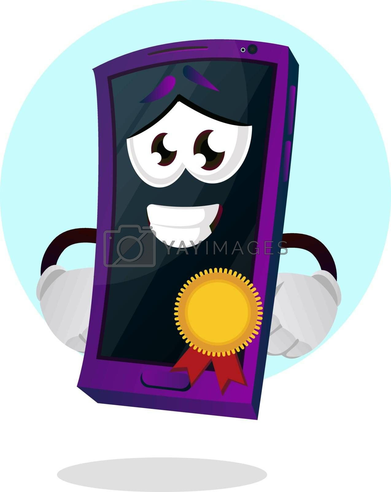 Royalty free image of Mobile emoji with a medal illustration vector on white backgroun by Morphart
