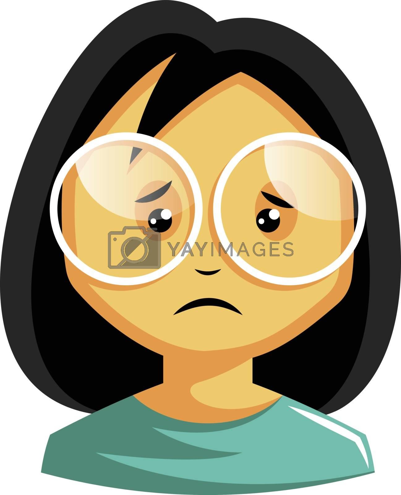 Royalty free image of Girl wearing white glasses is feeling emotional illustration vec by Morphart
