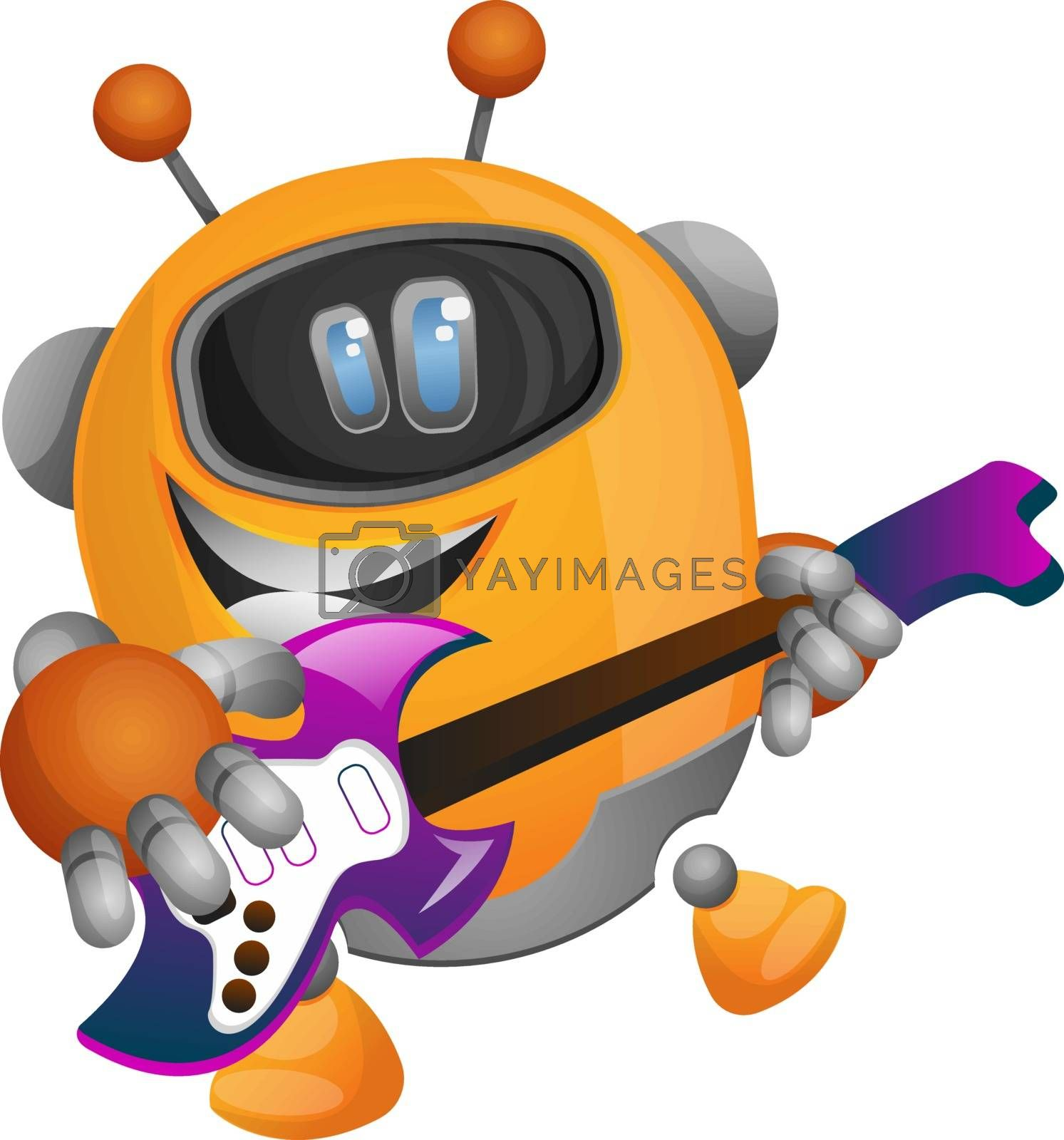 Royalty free image of Robot playing guitar illustration vector on white background by Morphart
