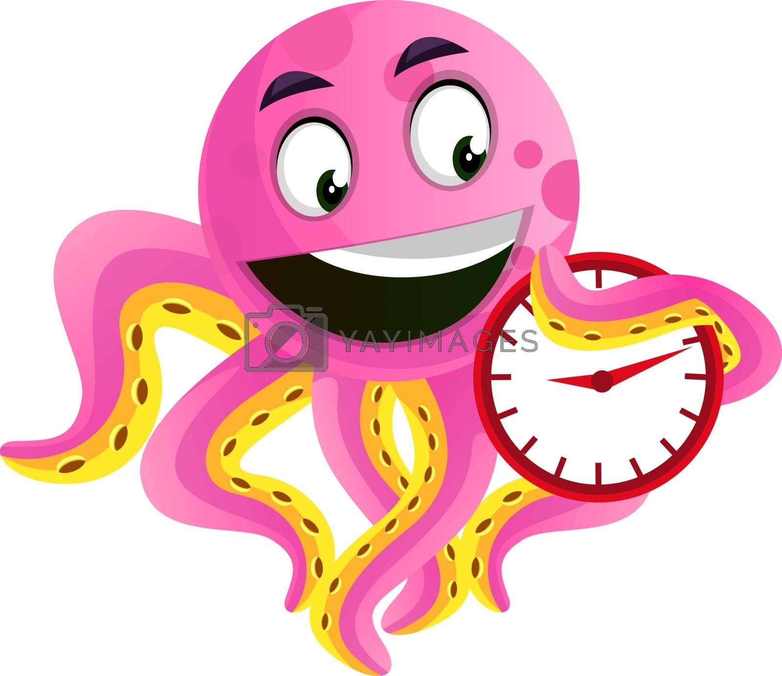 Royalty free image of Octopus holding a clock illustration vector on white background by Morphart