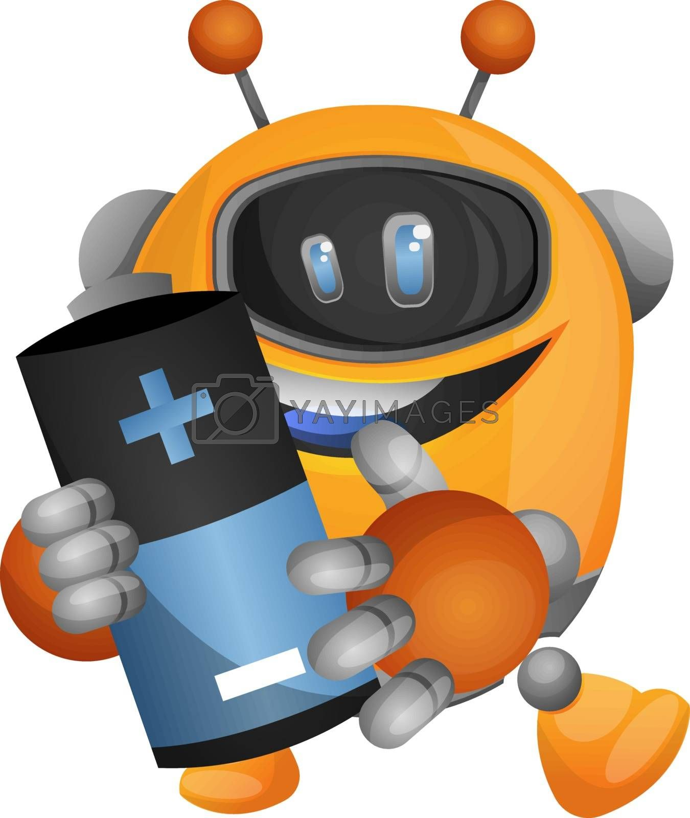 Royalty free image of Robot holding the battery illustration vector on white backgroun by Morphart