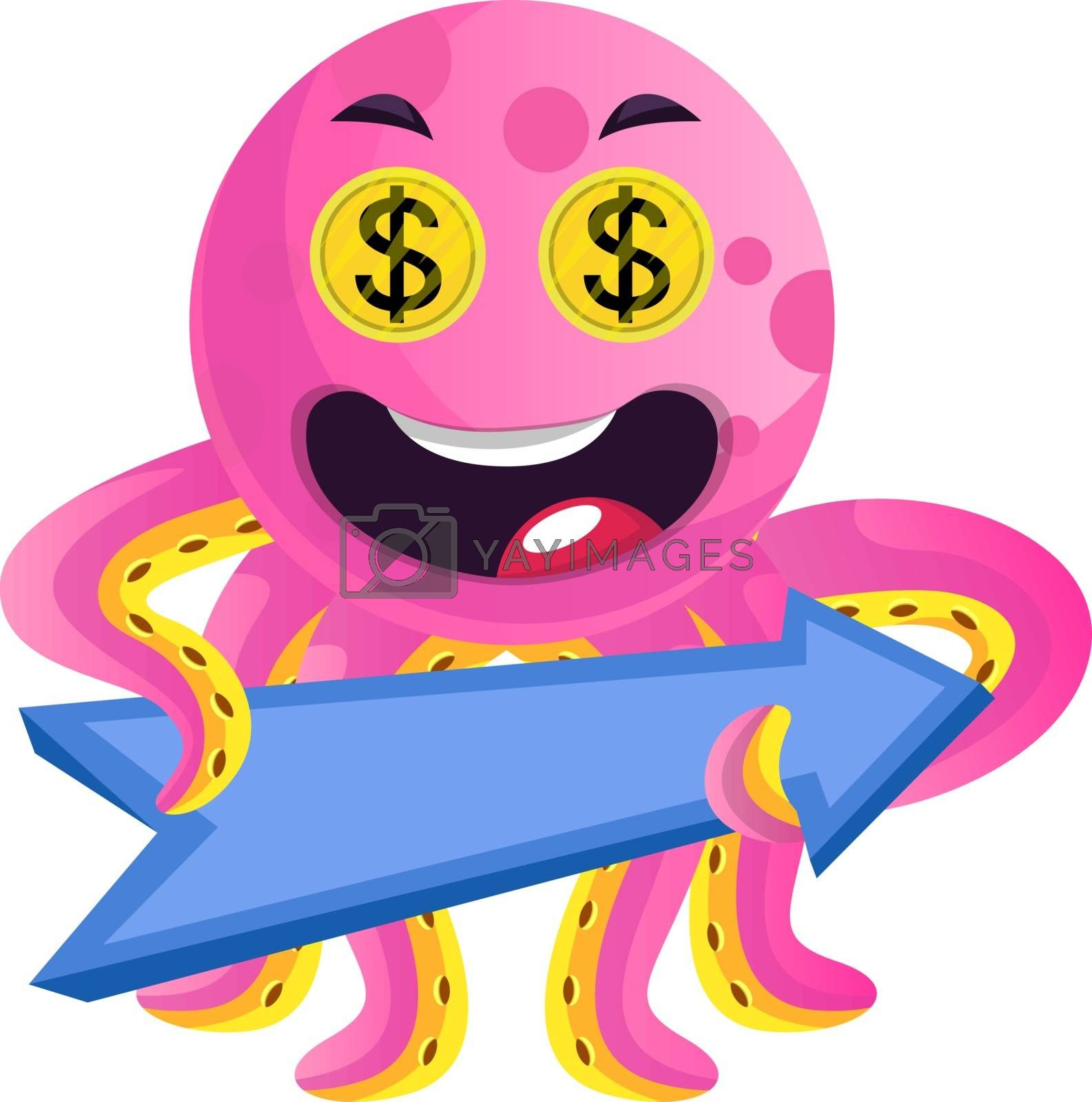 Royalty free image of Pink octopus with a direction sign illustration vector on white  by Morphart