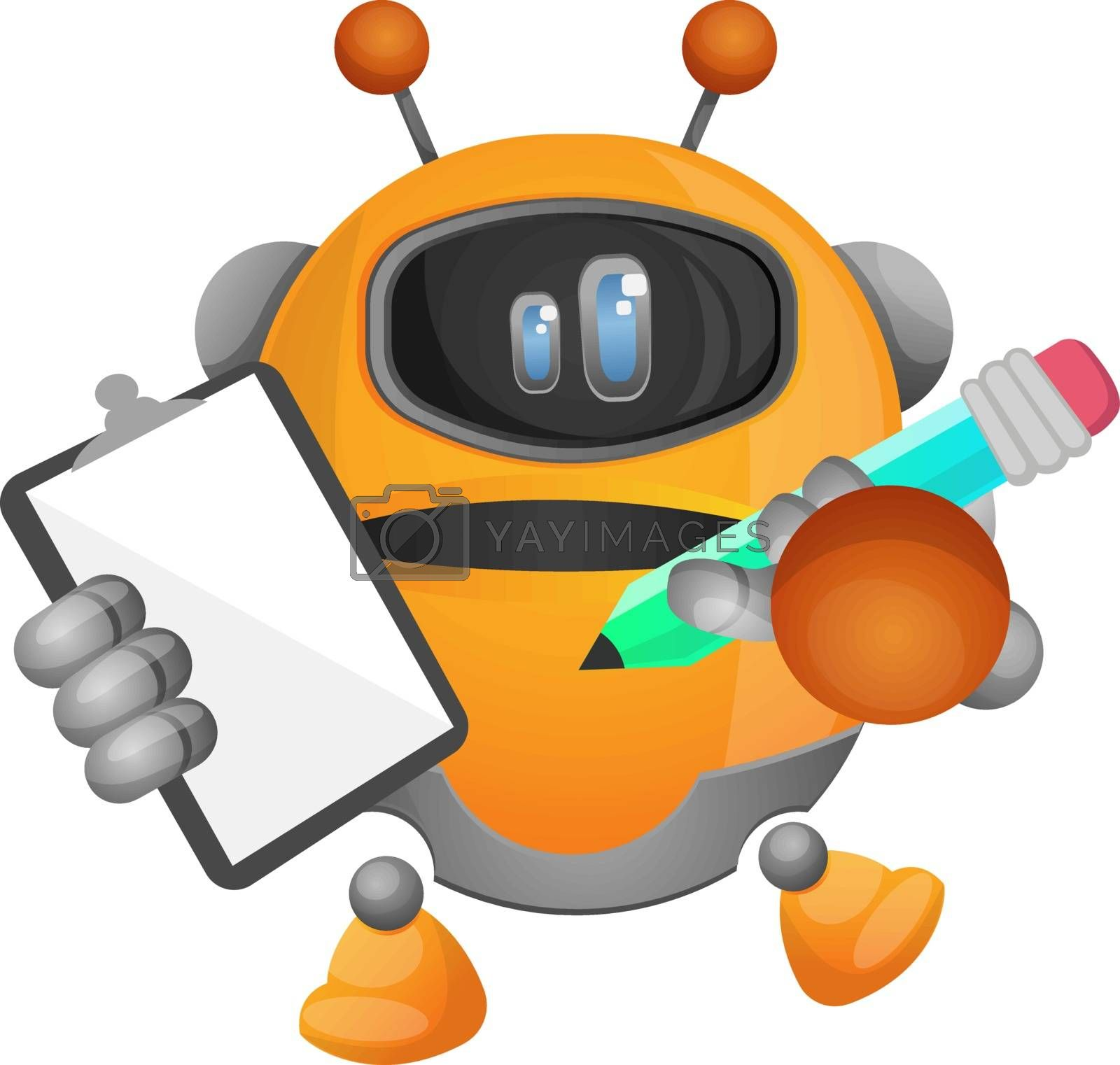 Royalty free image of Robot taking notes illustration vector on white background by Morphart