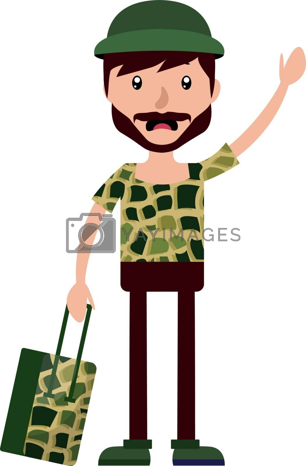 Royalty free image of Young man waving at someone and holding a suitcase illustration  by Morphart