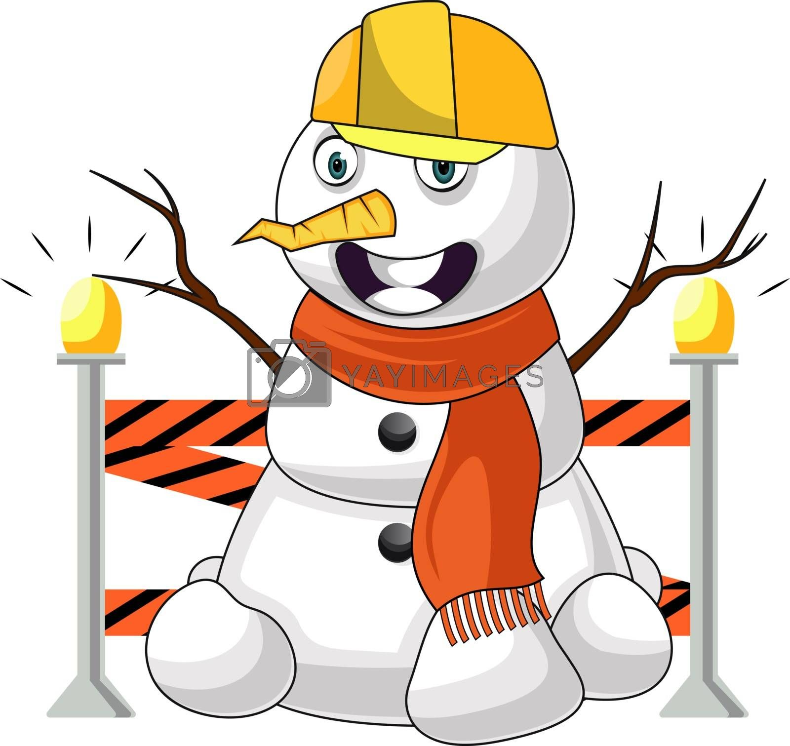 Royalty free image of Working snowman illustration vector on white background by Morphart