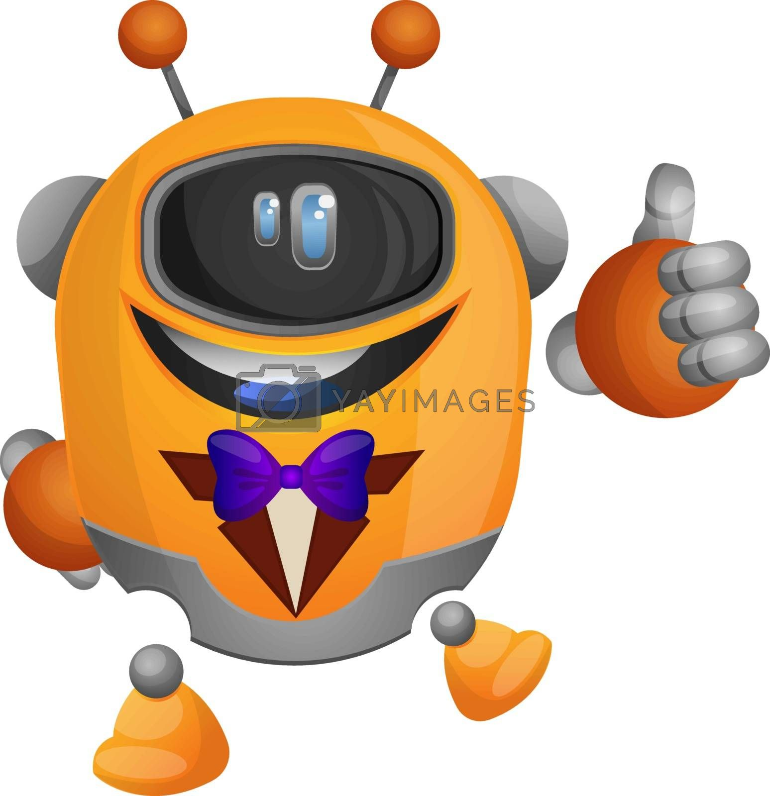 Royalty free image of Orange robot in a tuxedo illustration vector on white background by Morphart