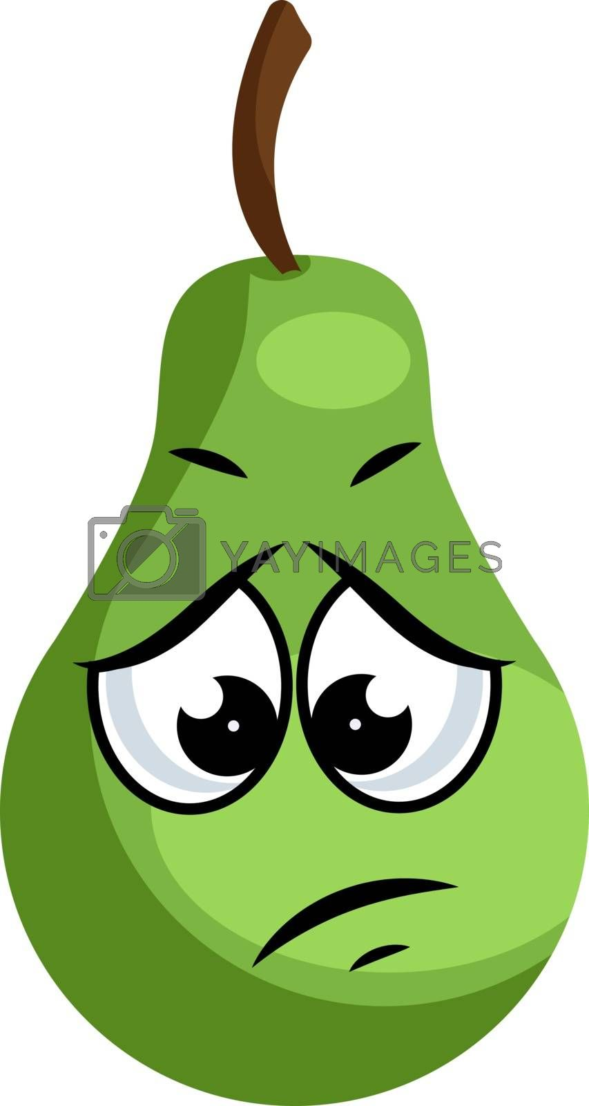 Royalty free image of Sad green pear illustration vector on white background by Morphart