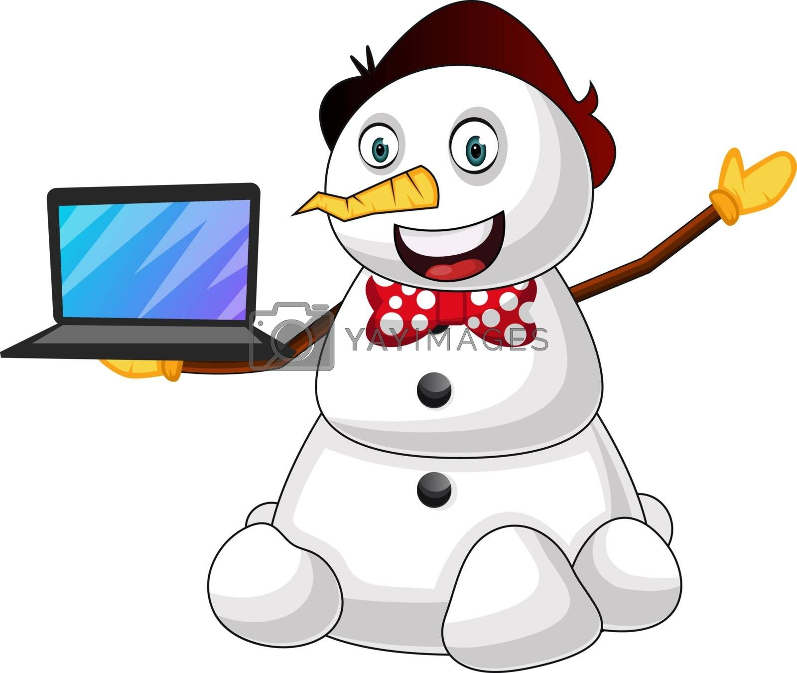 Royalty free image of Snowman with laptop illustration vector on white background by Morphart