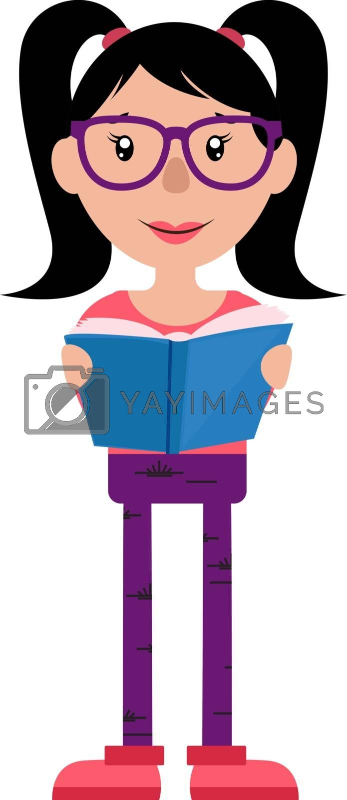 Royalty free image of Teen girl with glasses reading a book illustration vector on whi by Morphart