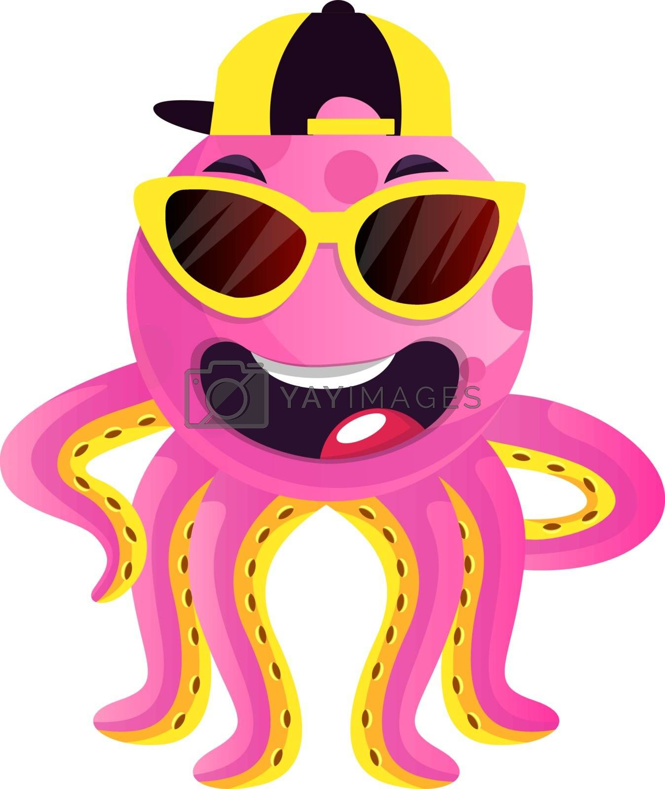 Royalty free image of Octopus with sunglasses and hat illustration vector on white bac by Morphart