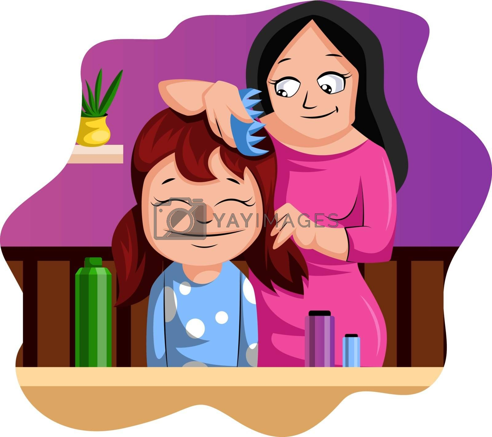 Royalty free image of Mother brushing her daughter's hair illustration vector on white by Morphart