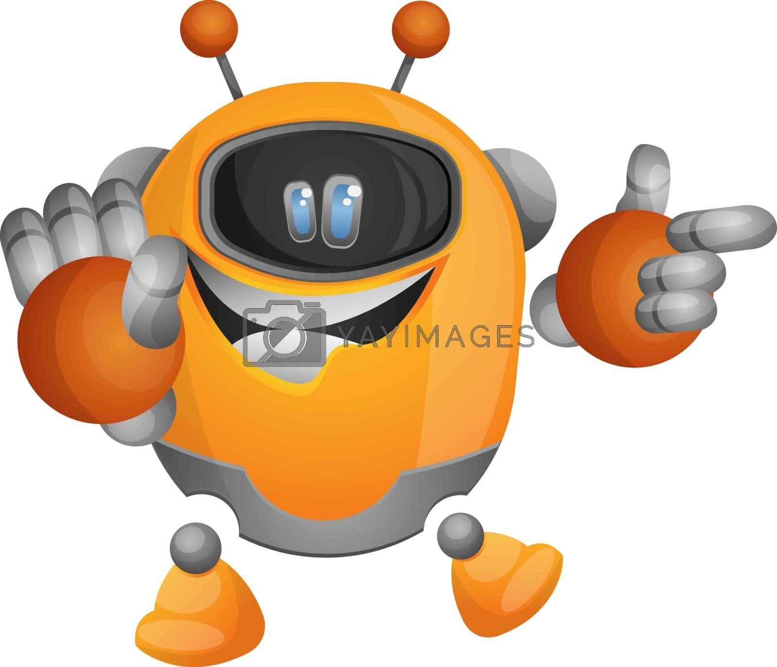 Royalty free image of Cute orange robot pointing at something illustration vector on w by Morphart