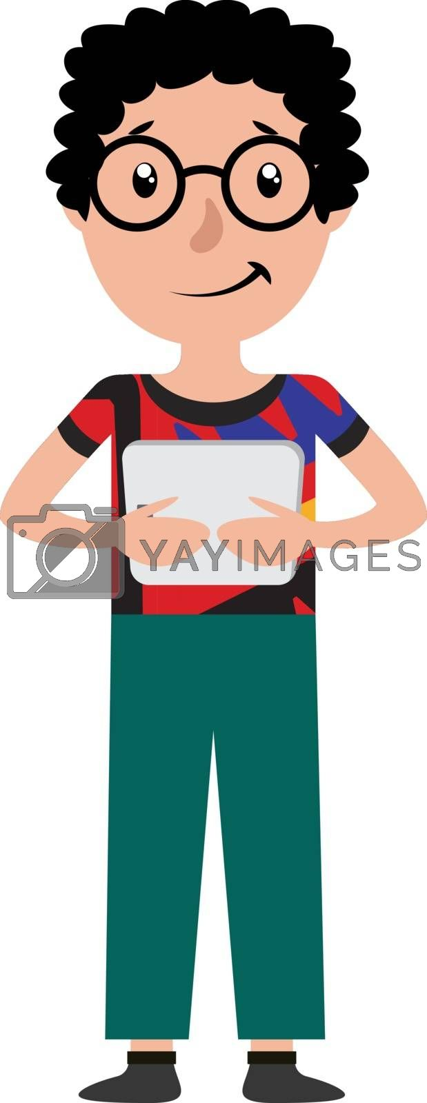Royalty free image of Cartoon teen boy holding the tablet illustration vector on white by Morphart