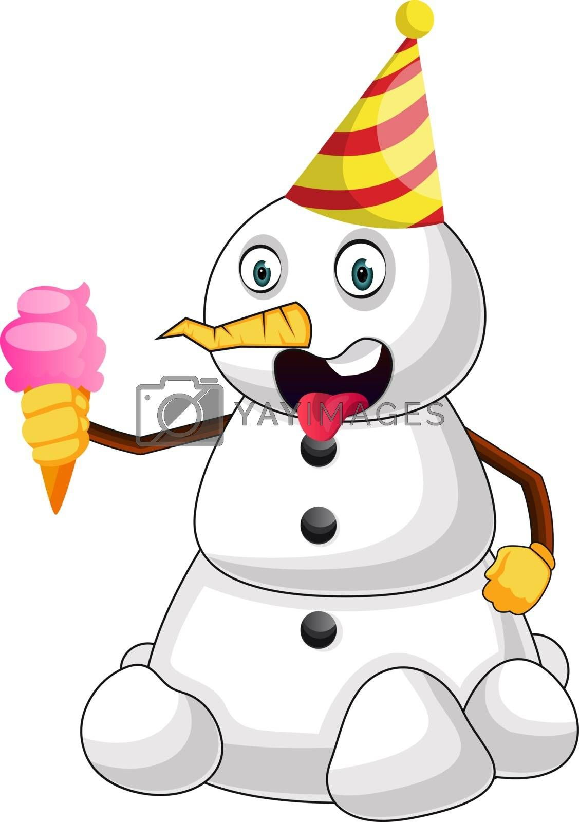 Royalty free image of Snowman with ice cream illustration vector on white background by Morphart