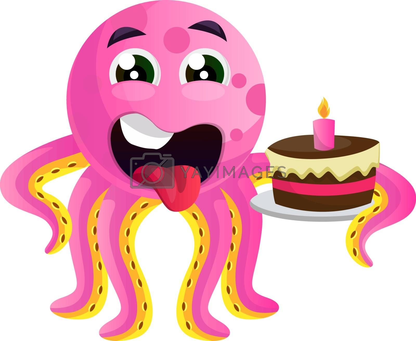 Royalty free image of Octopus with a birthday cake illustration vector on white backgr by Morphart