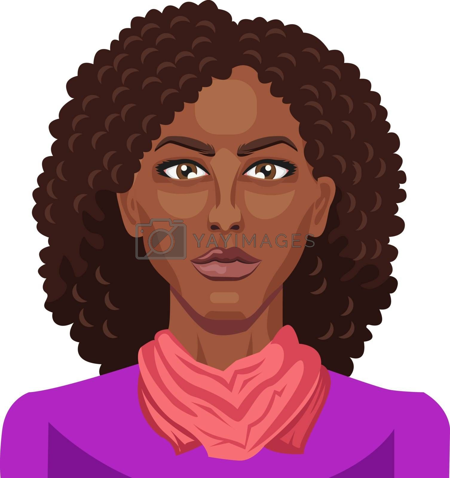 Royalty free image of Pretty afro girl with curly hair illustration vector on white ba by Morphart