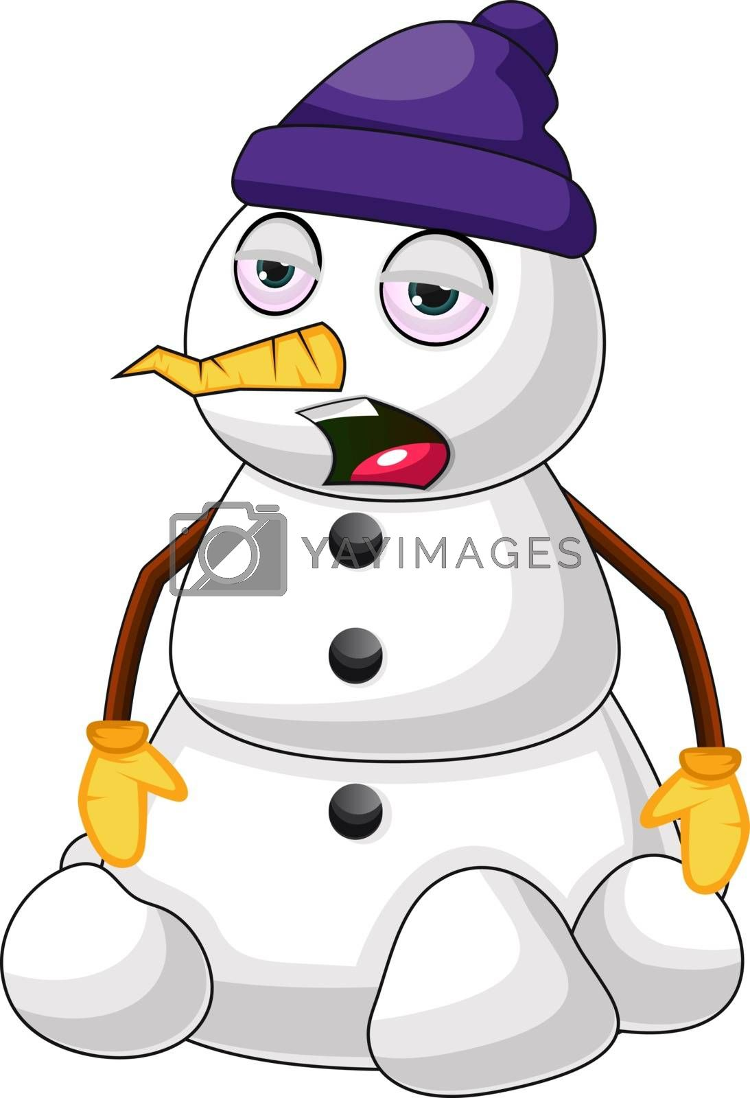 Royalty free image of Sleepy snowman illustration vector on white background by Morphart