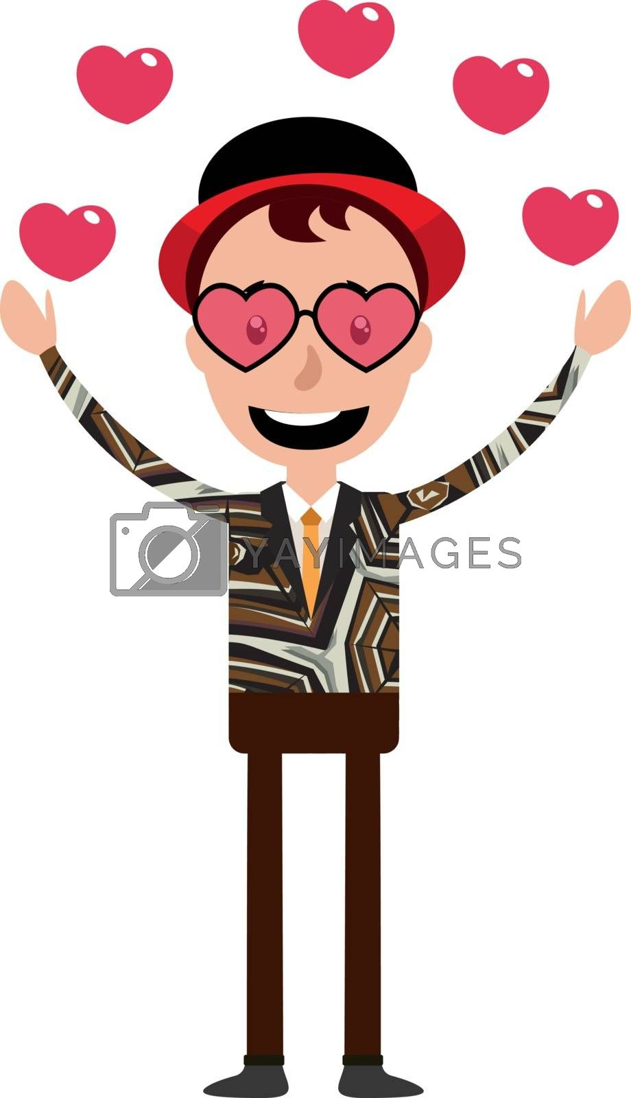 Royalty free image of Cartoon funny young man in love illustration vector on white bac by Morphart