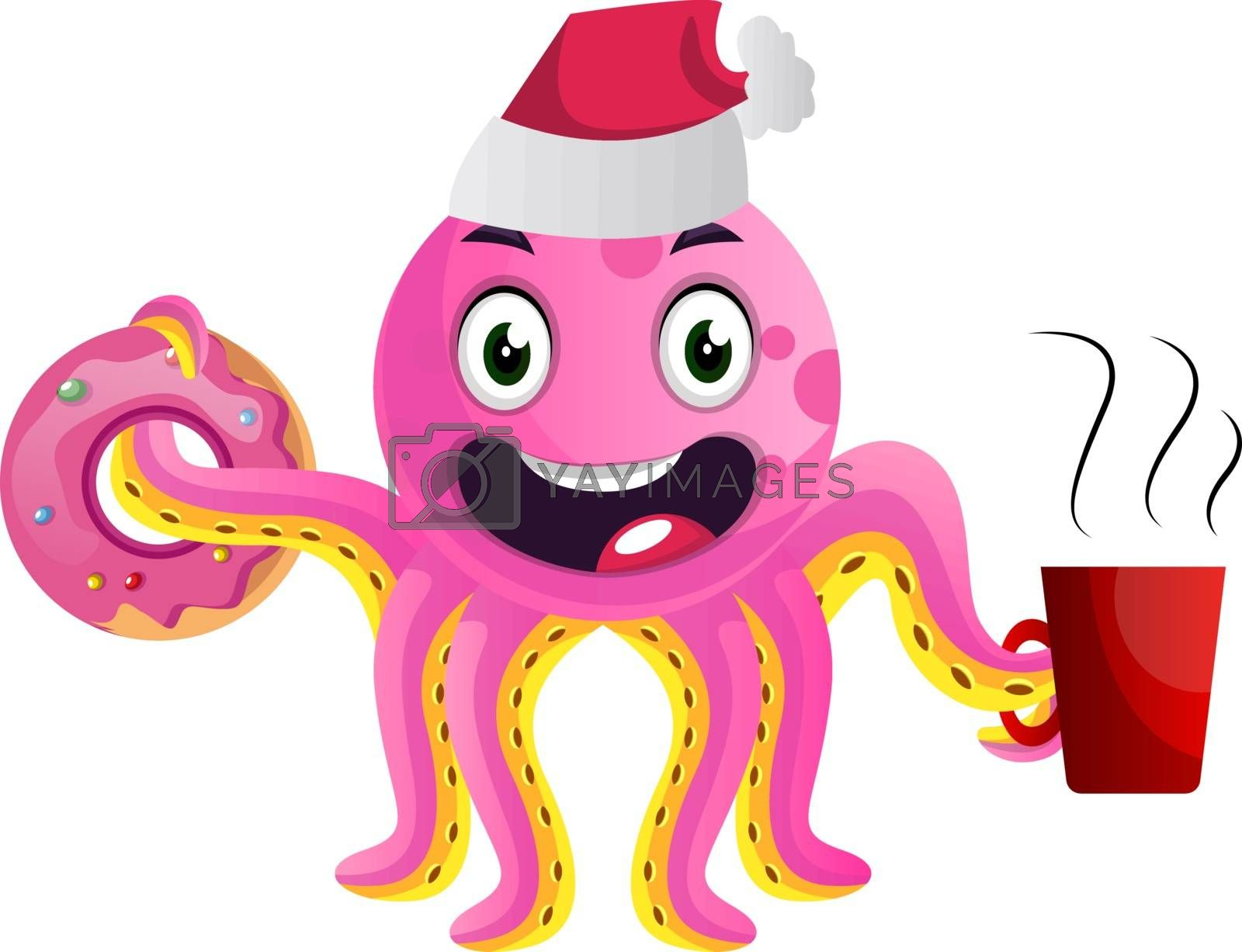 Royalty free image of Pink party octopus illustration vector on white background by Morphart