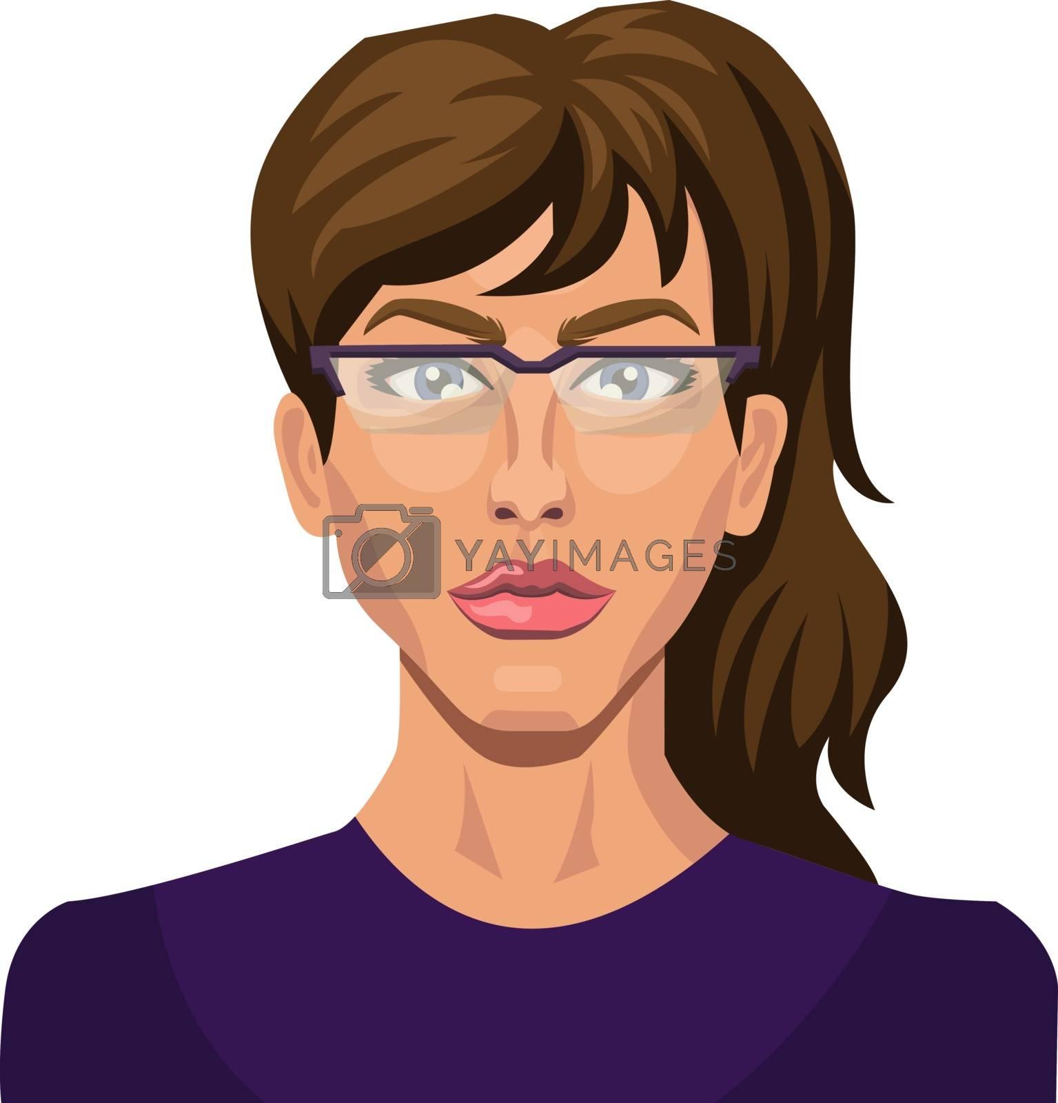Royalty free image of Brunette girl with glasses illustration vector on white backgrou by Morphart