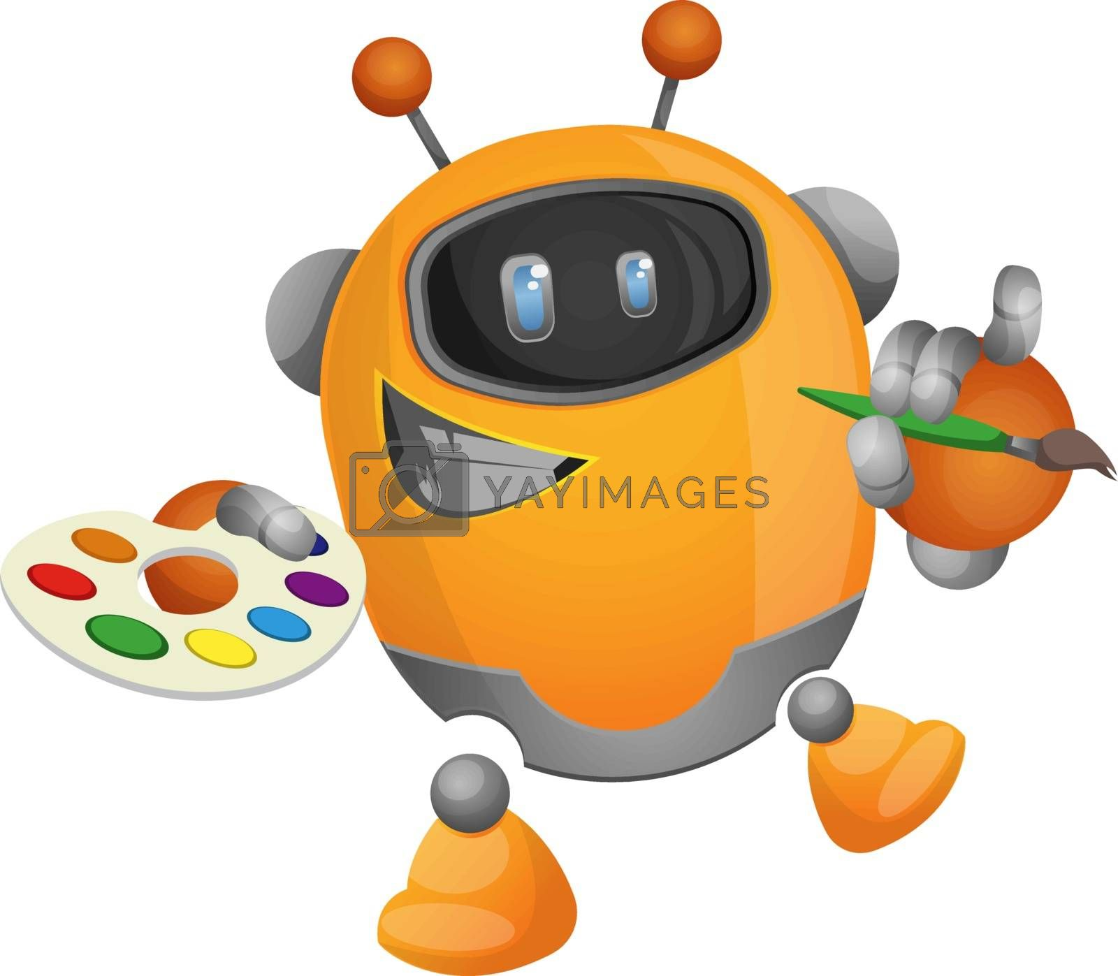 Royalty free image of Cartoon robot painter illustration vector on white background by Morphart