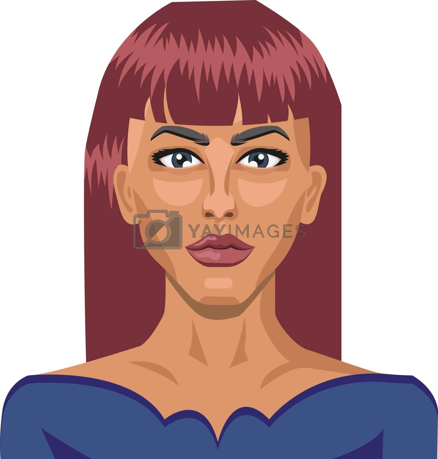 Royalty free image of Pretty girl with red hair illustration vector on white backgroun by Morphart
