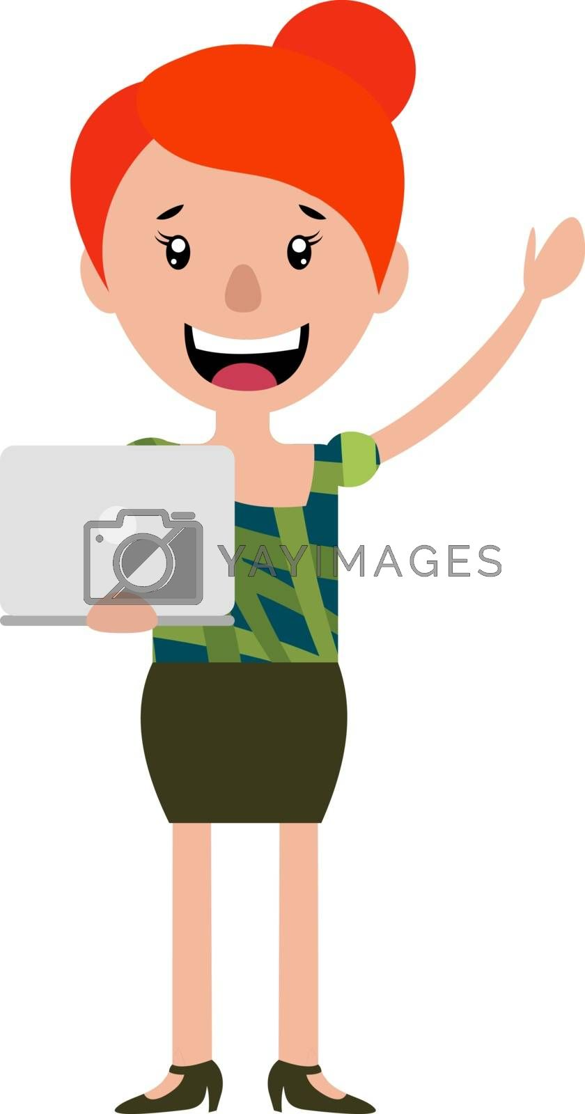 Royalty free image of Happy woman waving and holding a laptop illustration vector on w by Morphart