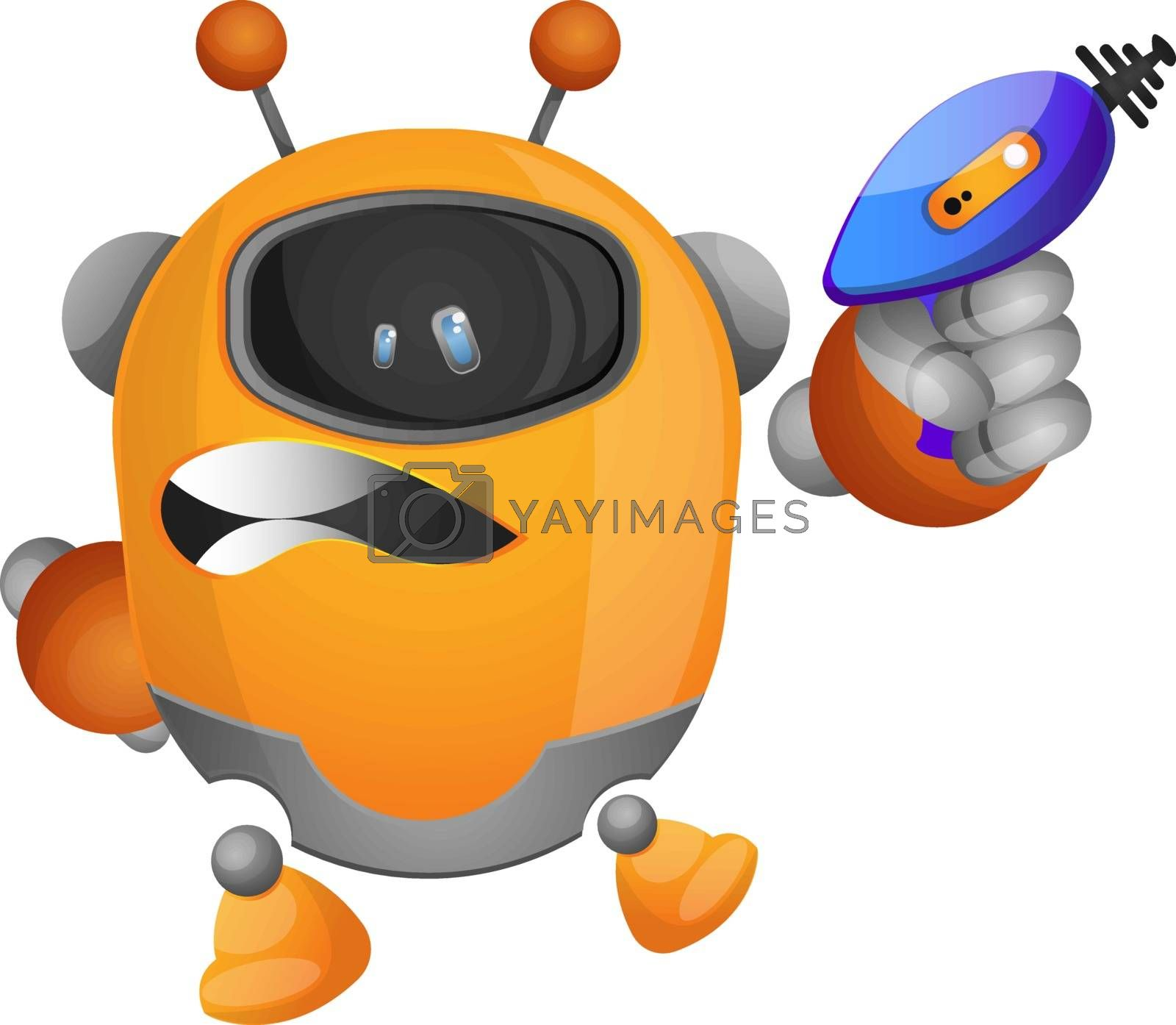 Royalty free image of Robot holding a laser gun illustration vector on white backgroun by Morphart