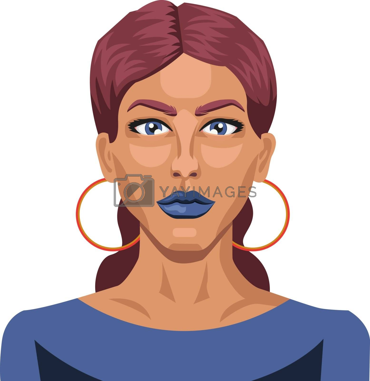 Royalty free image of Beautiful girl with blue lipstick illustration vector on white b by Morphart