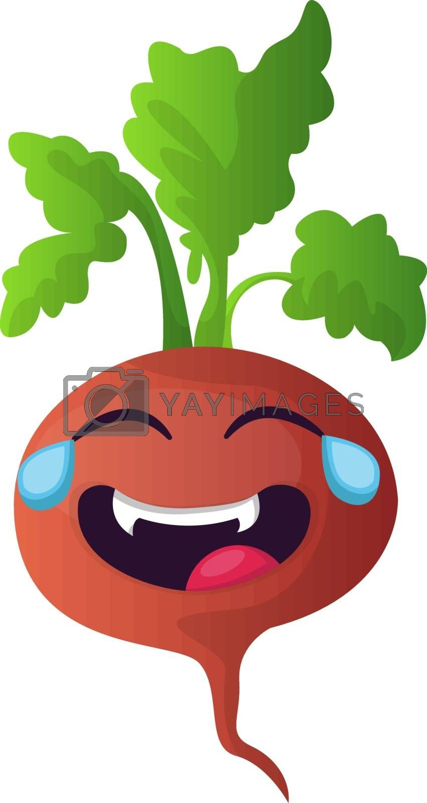 Royalty free image of Red turnip is crying with laughter illustration vector on white  by Morphart