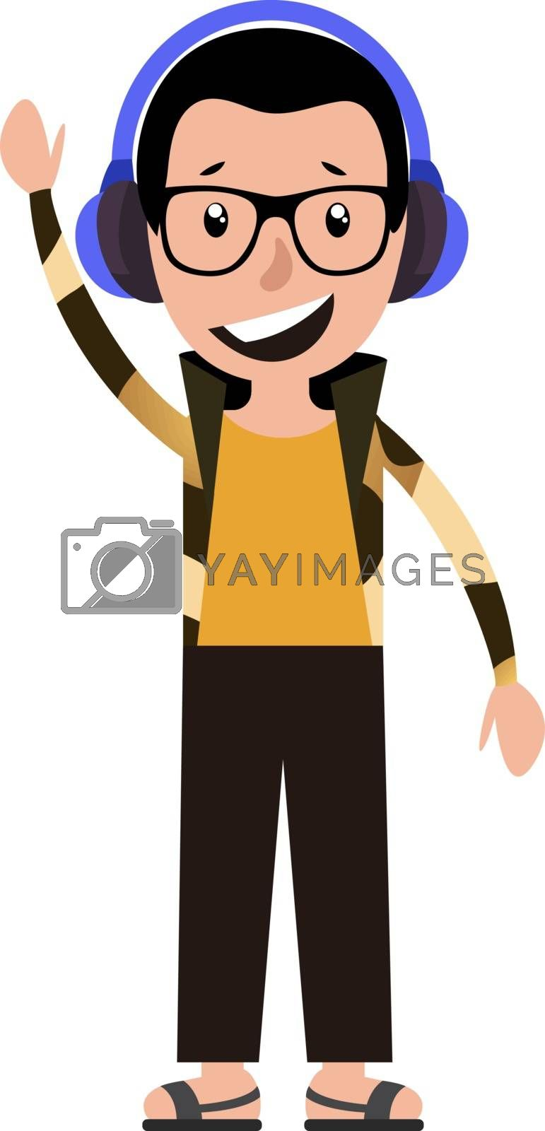 Royalty free image of Cartoon adult boy listening to music and waving illustration vec by Morphart