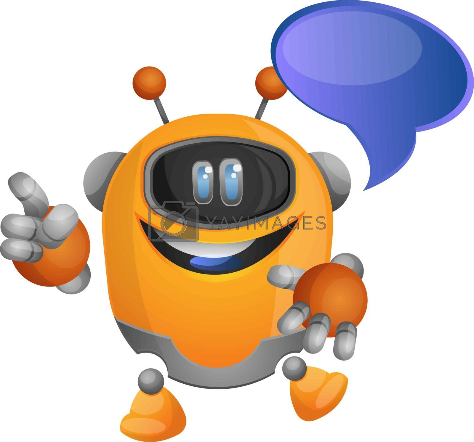 Royalty free image of The cute orange robot with a text bubble illustration vector on  by Morphart
