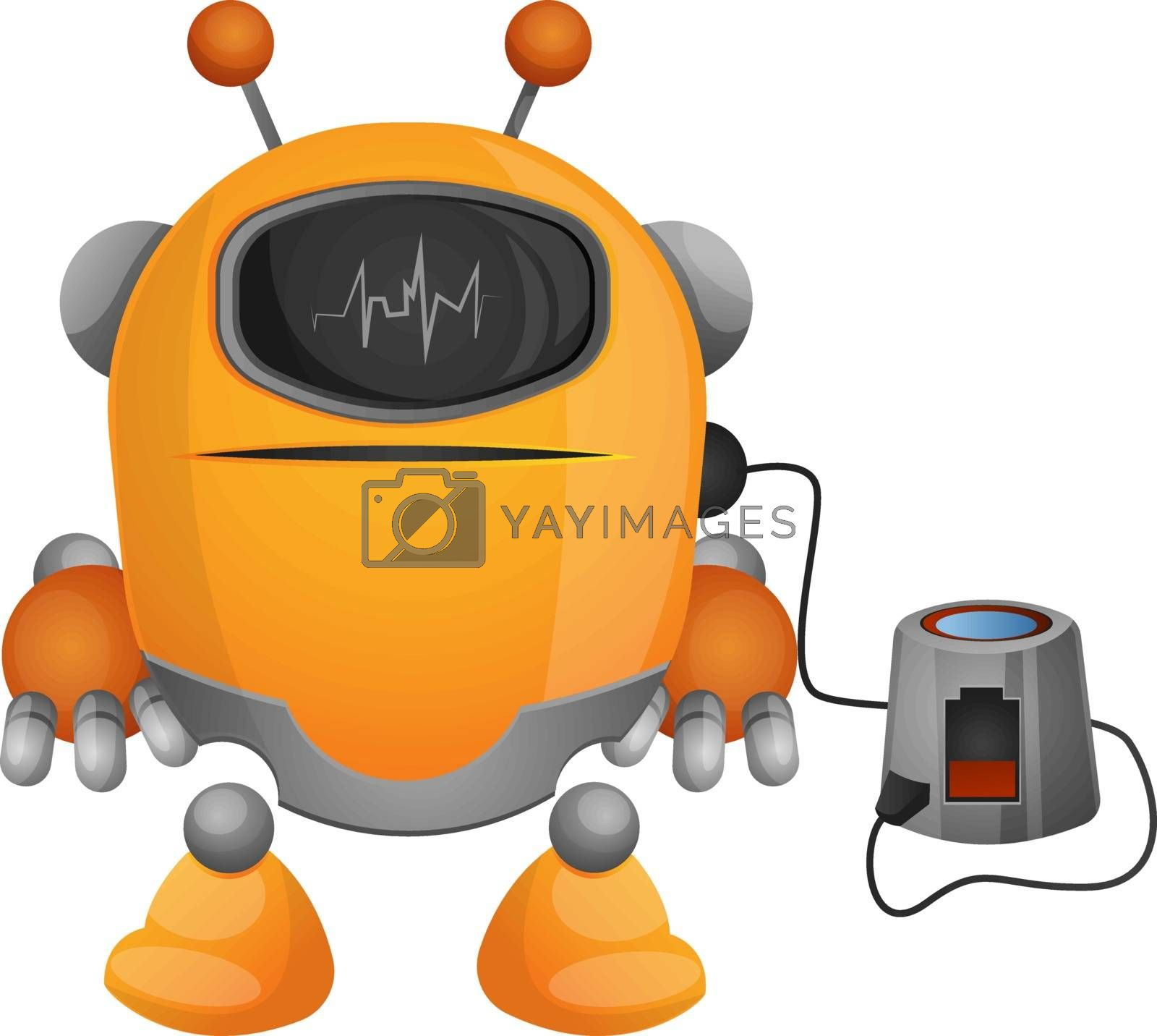 Royalty free image of Cartoon robot on the charger illustration vector on white backgr by Morphart