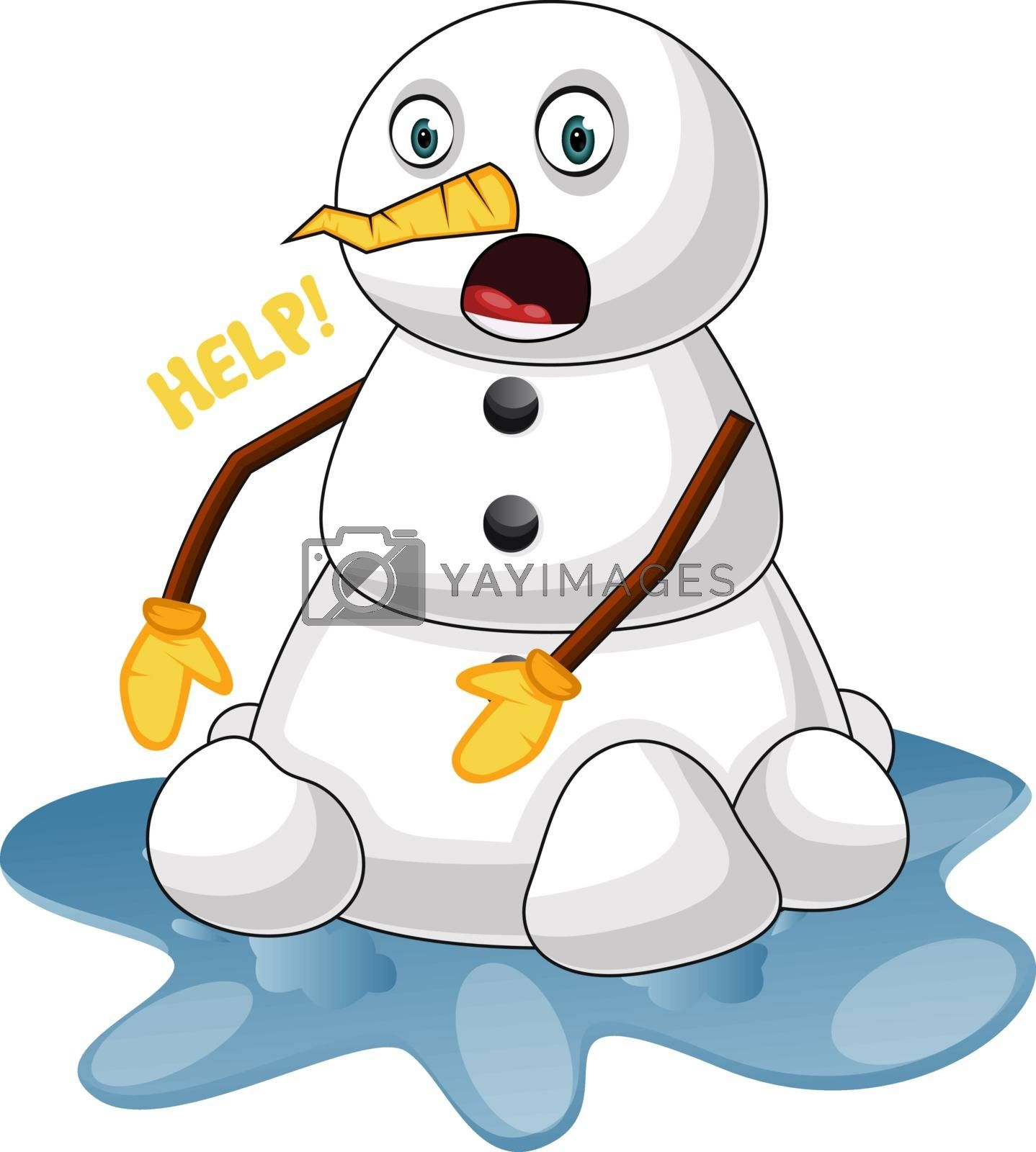 Royalty free image of Melting snowman illustration vector on white background by Morphart