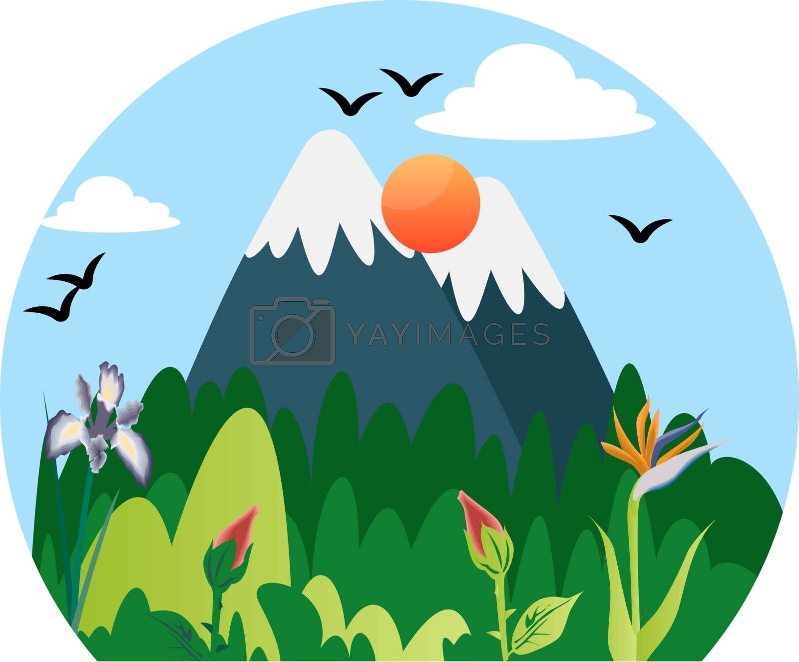 Royalty free image of Beautiful nature in the mountains illustration vector on white b by Morphart