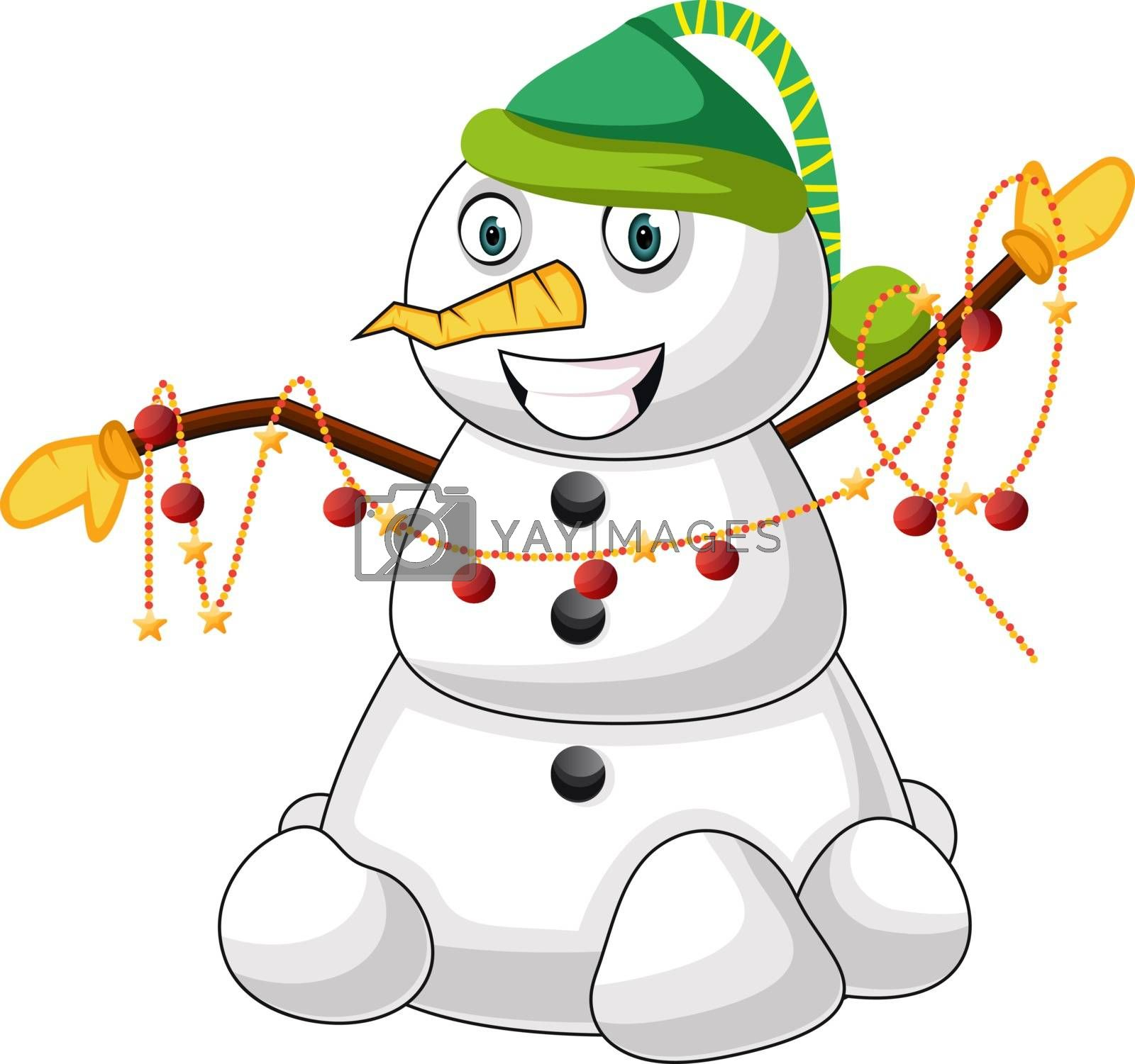 Royalty free image of Snowman with green hat illustration vector on white background by Morphart