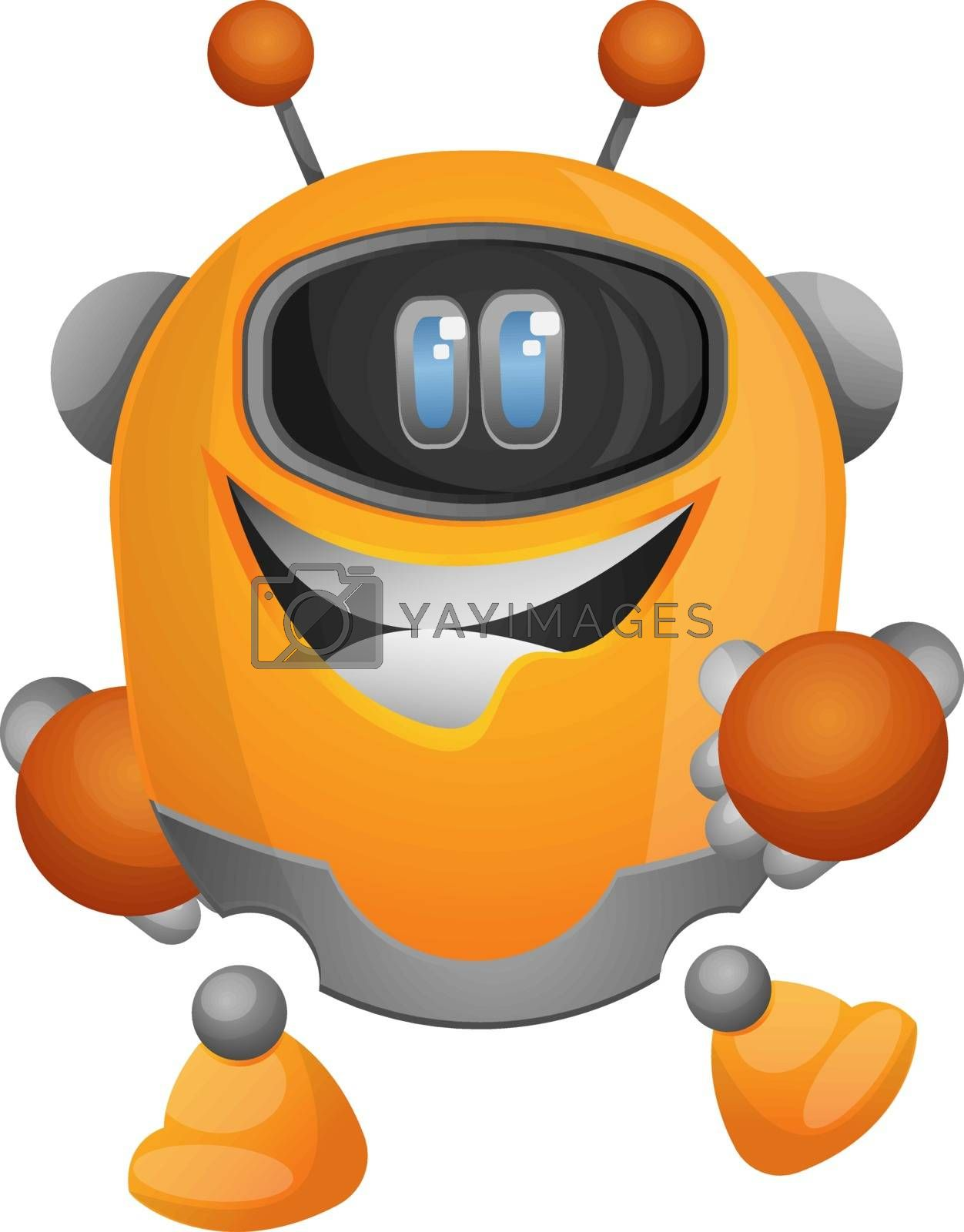 Royalty free image of Cheerful cartoon robot illustration vector on white background by Morphart