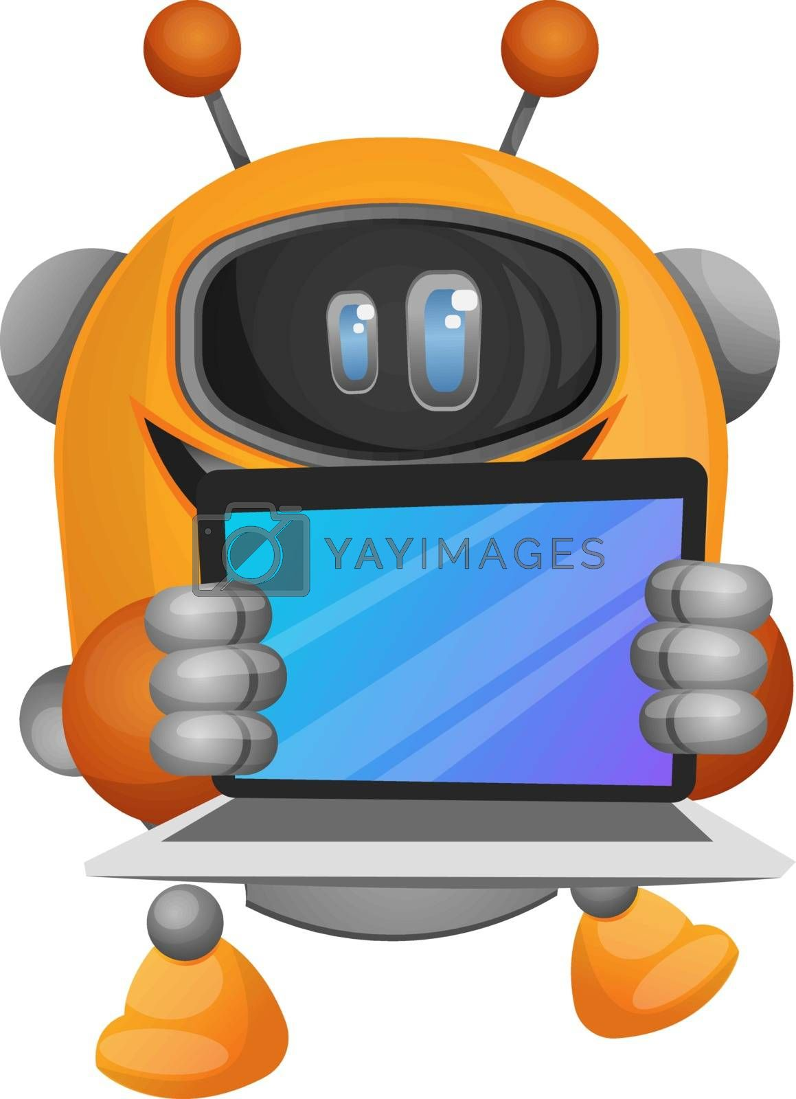 Royalty free image of Cartoon robot holding a notebook illustration vector on white ba by Morphart