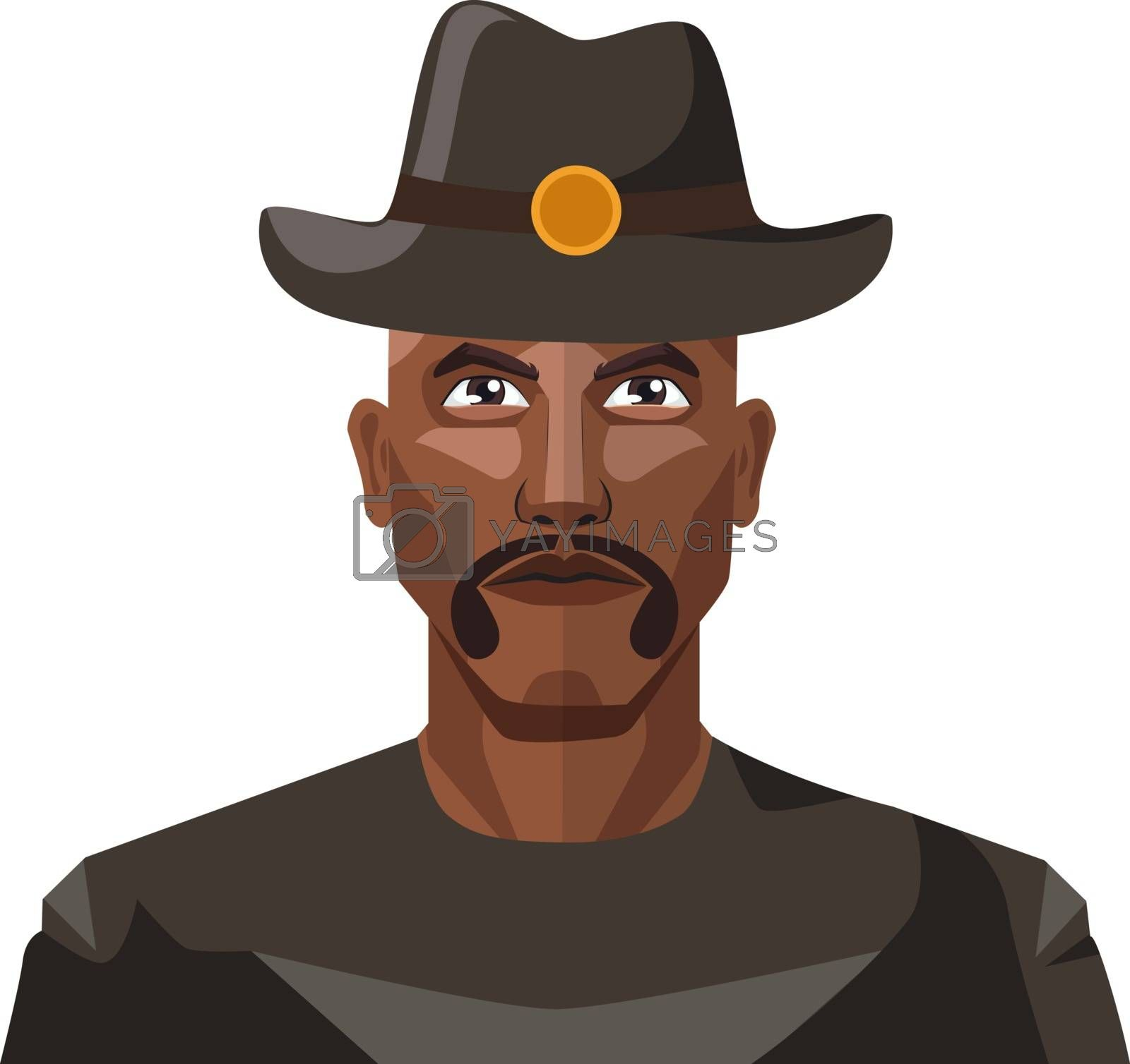 Royalty free image of Guy with mustaches wearing a hat illustration vector on white ba by Morphart