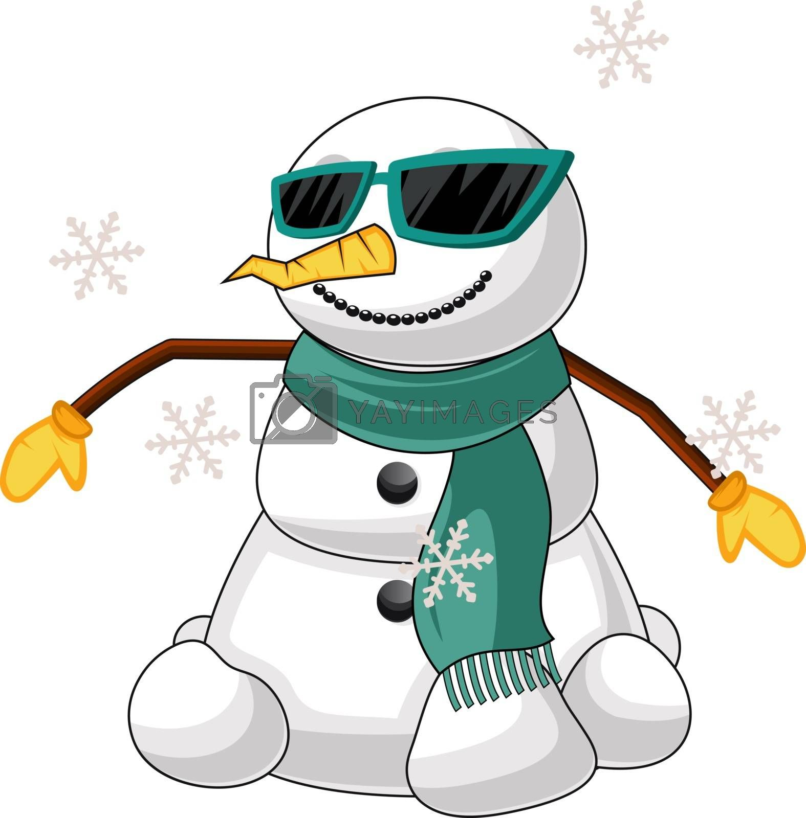 Royalty free image of Cool snowman illustration vector on white background by Morphart
