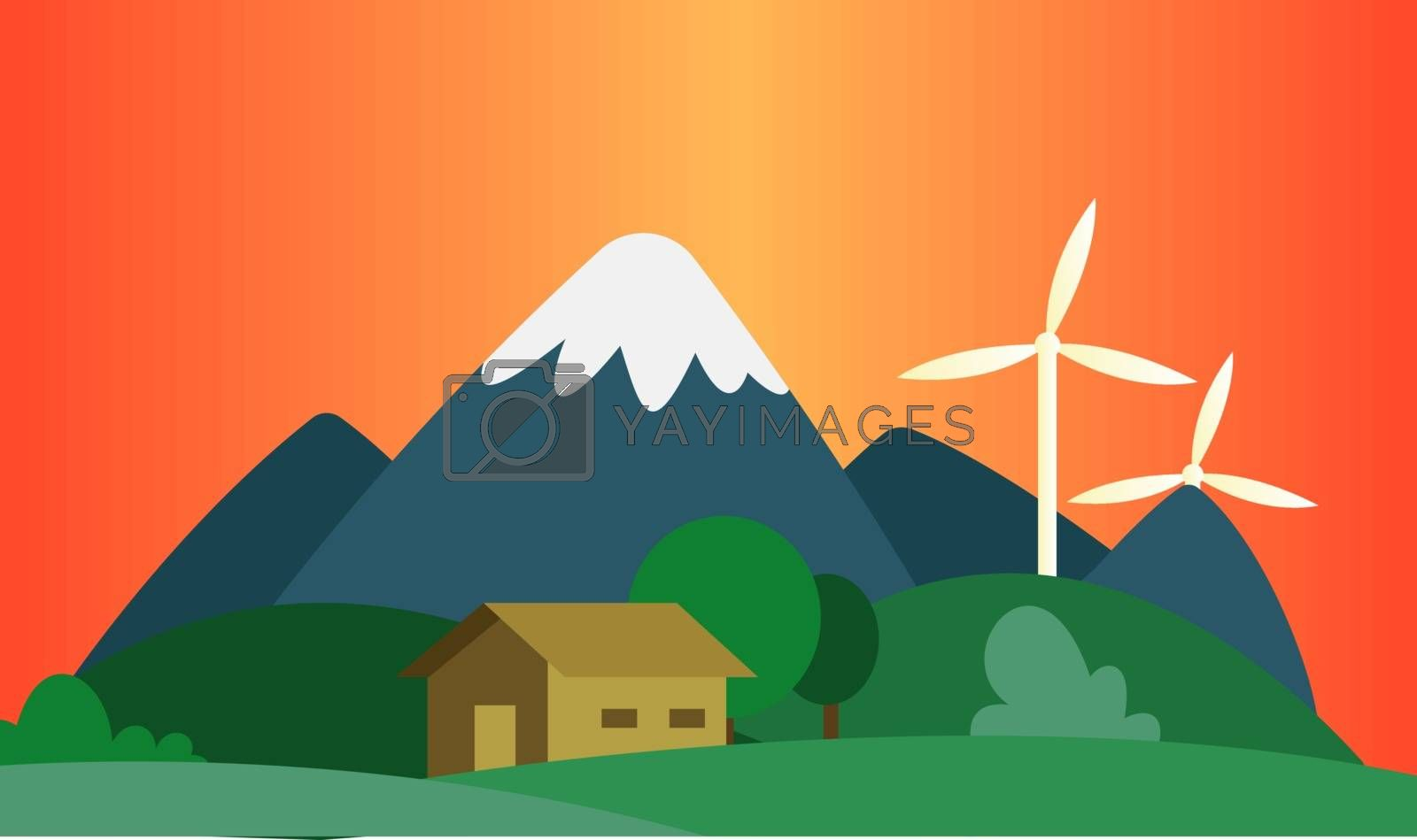 Royalty free image of Sunset in the mountains where they use wind as a resource illust by Morphart