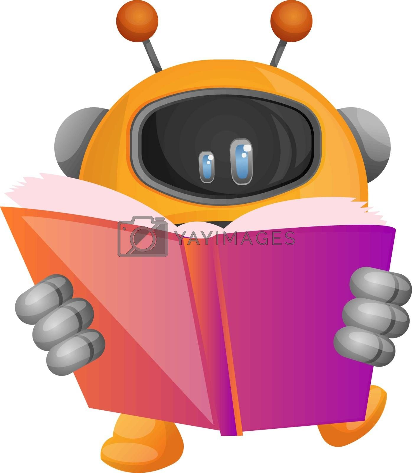Royalty free image of Cartoon robot reading a book illustration vector on white backgr by Morphart