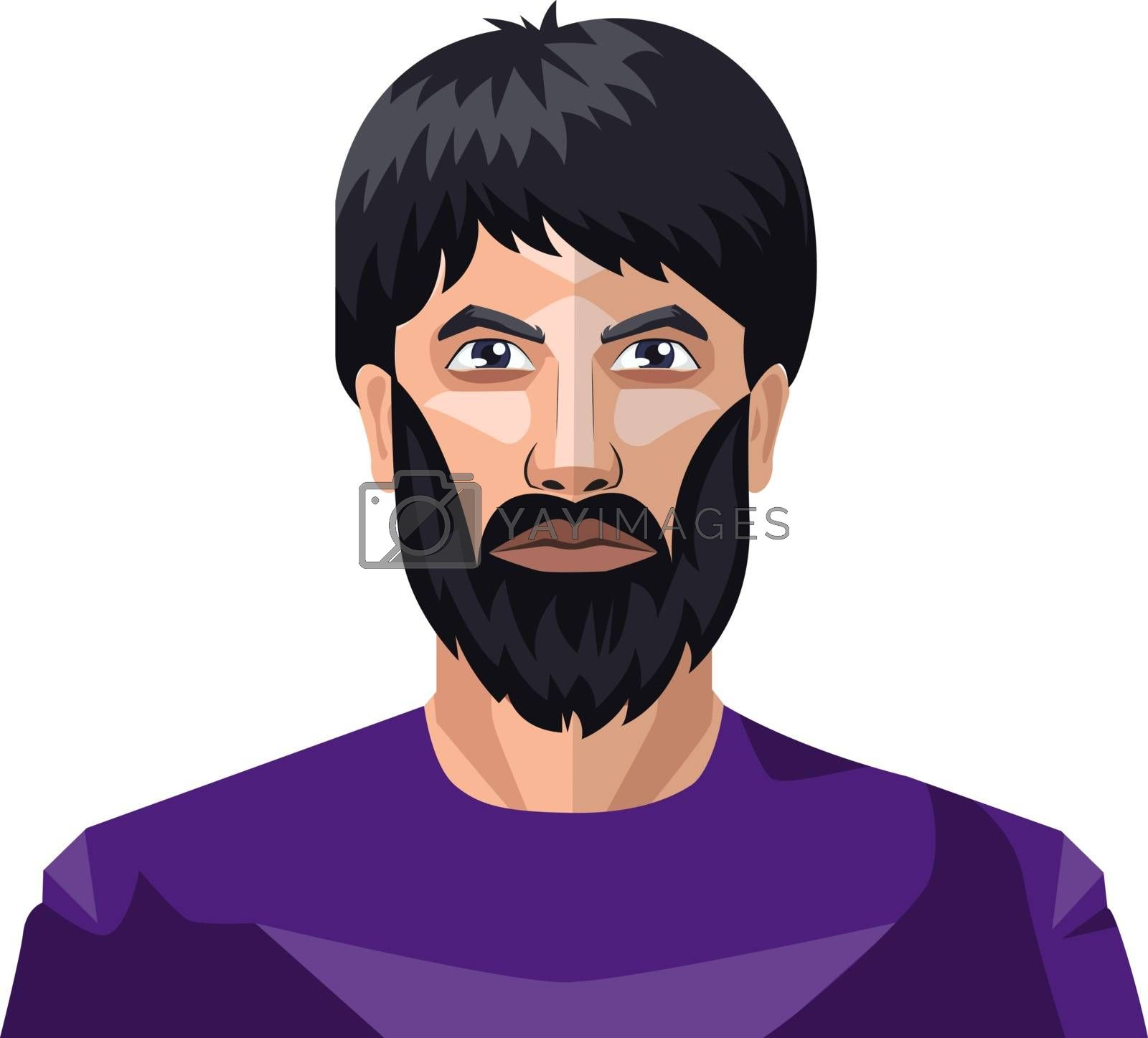 Royalty free image of Man with a beard and long black hair illustration vector on whit by Morphart