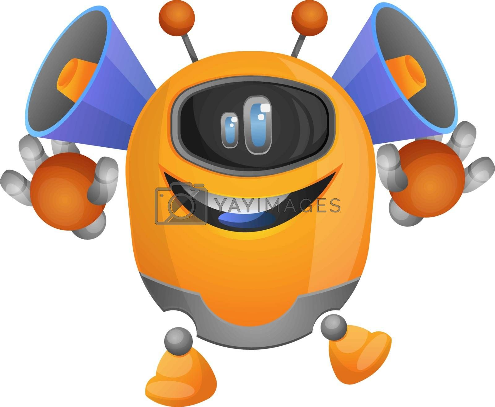 Royalty free image of Cartoon robot with speakers on the head illustration vector on w by Morphart